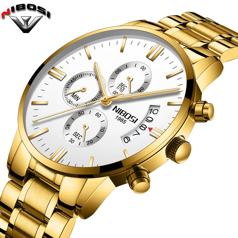 2019 NIBOSI Luxury Brand Watches Men Fashion Sport Military Quartz Watch Men Full Steel Waterproof Clock Man Relogio Masculino