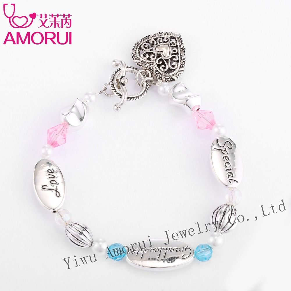 Granddaughter Love Heart Charm Bead Bracelet Homme Bijoux Femme Pink/Blue Crystal Pearl Silver Bracelets for Women Gift Dropship