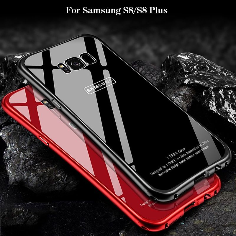 2017 New For Samsung S8 Plus Case Luxury Glitter Slim Hard Aluminum Metal Frame+Tempered glass Shockproof Back Phone Case Cover