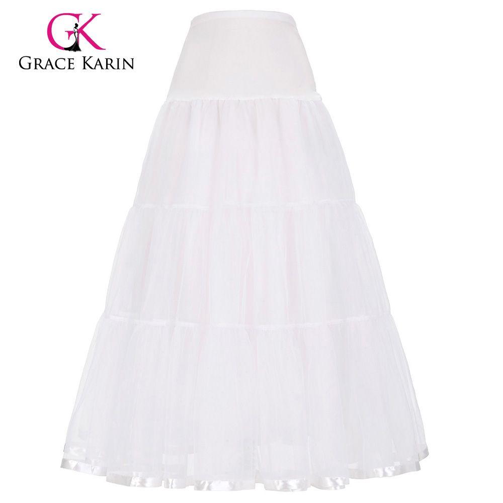 Gracia Karin Blanco Bajo Falda de Crinolina Enagua de Tul Balón vestido de Boda Negro Largo enaguas Falda Accesorios Nupciales 2017