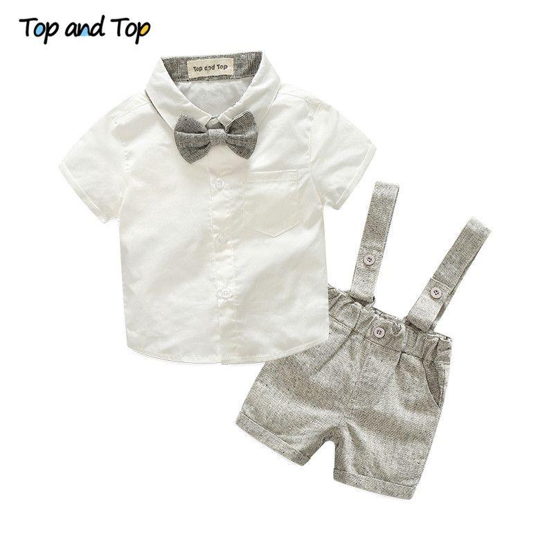 Style d'été bébé garçon vêtements ensemble nouveau-né infantile vêtements 2 pcs à manches courtes t-shirt + bretelles gentleman costume