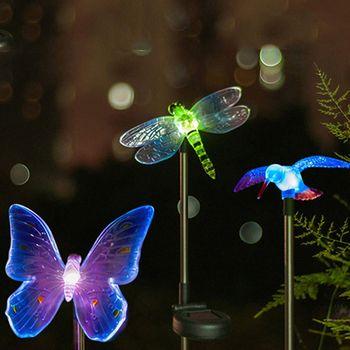 Changeant de couleur LED Jardin Solaire Lumière Extérieure Imperméable À L'eau Libellule/Papillon/Oiseau Solaire LED pour Jardin Décoration Chemin pelouse Lampe