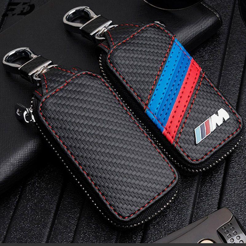 Carbon Fiber Leather Key Case Cover Bag For Bmw ///M Emblem Key Case For Bmw Cover F10 F30 F20 X3 X1 X5 X6 For Bwm Key Case