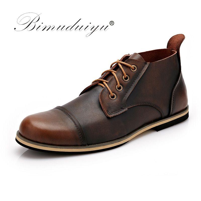 BIMUDUIYU Otoño Invierno Hecho A Mano de cuero Genuino Hombres Botas de Alta Calidad Plus Tamaño de Invierno Zapatos Botines Con Cordones Para Hombres 38-47