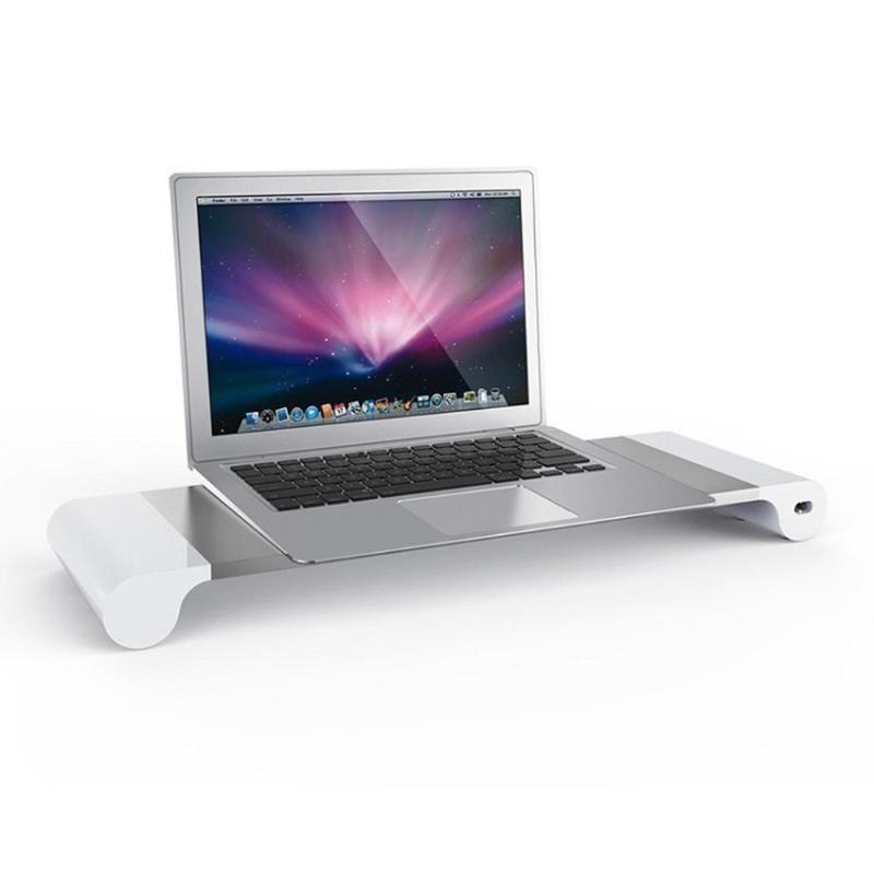 EU Plug Aluminum Alloy Monitor Stand Space Bar Dock Desk Riser with 4 USB Ports for iMac MacBook Computer Laptop Gadgets
