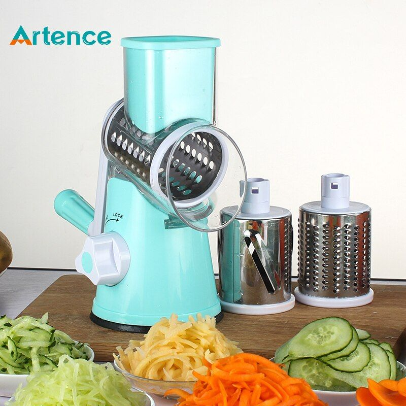 New Multifunctional Kitchen Manual Vegetable Shredder Slicer Cutter Grater ith Safe Food Pusher Three Stainless Steel Blades