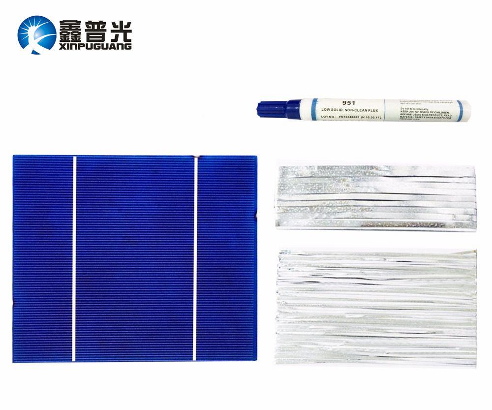 Xinpuguang 100 W bricolage panneau solaire Kits 30 pièces 156*130mm Polycristallin Cellule Solaire Flux Stylo + Tab Fil + Bus Fil pour panneau solaire