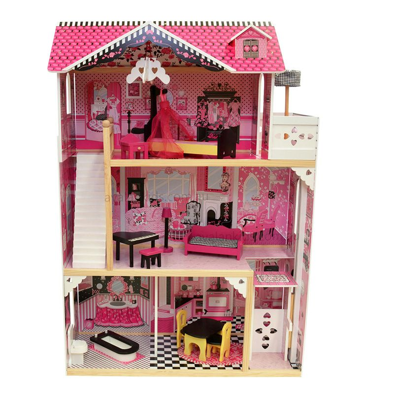 Girls Big Luxury Wooden House Pretend Toy Kids Pink Real Life Wooden Doll Villa with Doll Furniture Birthday Gift 80*42*120 cm