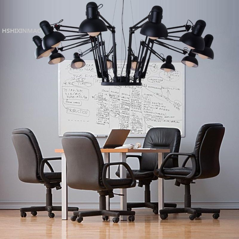 American Retro Industrial Wind Retractable Iron Spider Chandelier Creative Office Clothing Shop Bar Restaurant Light AC85-265V