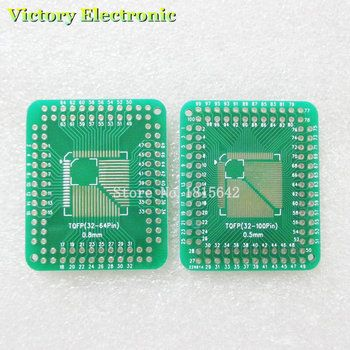 5PCS/Lot QFP TQFP LQFP FQFP 32 44 64 80 100 LQF SMD Turn to DIP Adapter PCB Board Converter Plate 0.5/0.8 mm  IC adapter Socket