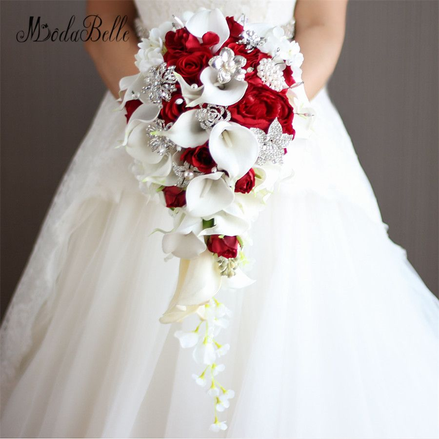Vintage Artificial Flowers Waterfall Wedding Bouquets With Crystal Bridal Brooch Bouquets Brides Bouquet De Mariage 2017