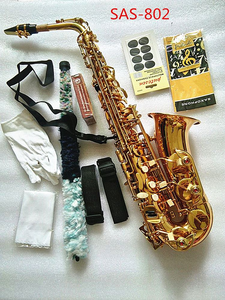 Saxophone Alto instrument High quality France SAS-802 new Golden Saxophone instrument Real picture way the gift is shipped Sax