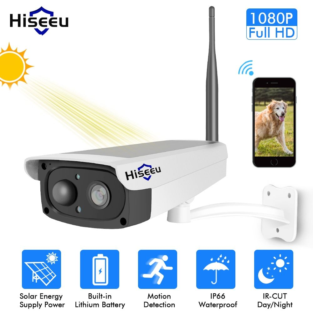 Hiseeu video surveillance camera Solar panel Rechargeable Battery 1080P Full HD Outdoor Indoor Security WiFi IP Camera Wide View