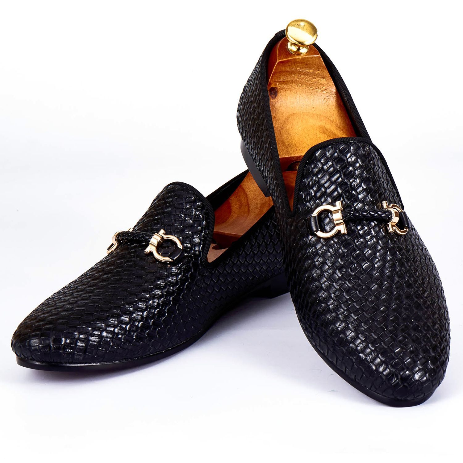 Harpelunde Men Dress Shoes Woven Leather Black Wedding Shoes Buckle Strap Flats Size 7-14