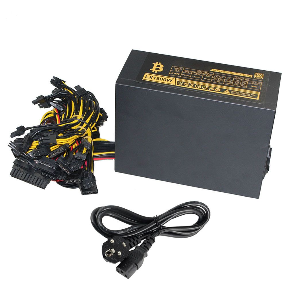 8 GPU PSU Mining Power Supply 1800W Pc Bitcoin Miner R9 380/390 RX 470/480 RX 570 1060 For Antminer A6 A7 S5 S7 B3 C9 D3 E9