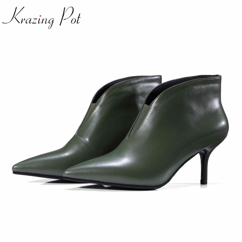 Krazing Pot genuine leather pointed toe Rome gladiator handsome green black color stiletto heels career Chelsea ankle boots L79