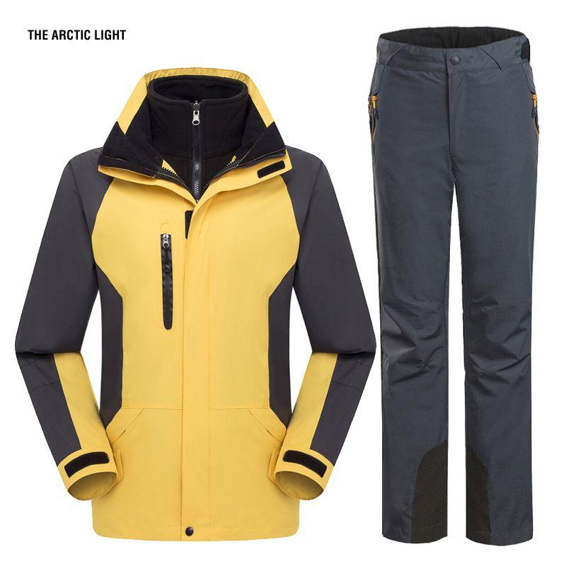 DIE ARKTISCHEN LICHT Ski Jacke Und Hose Anzug Wandern Camping Klettern Wasserdicht Winddicht Thermische Verdicken Mantel Und Hosen Eingestellt