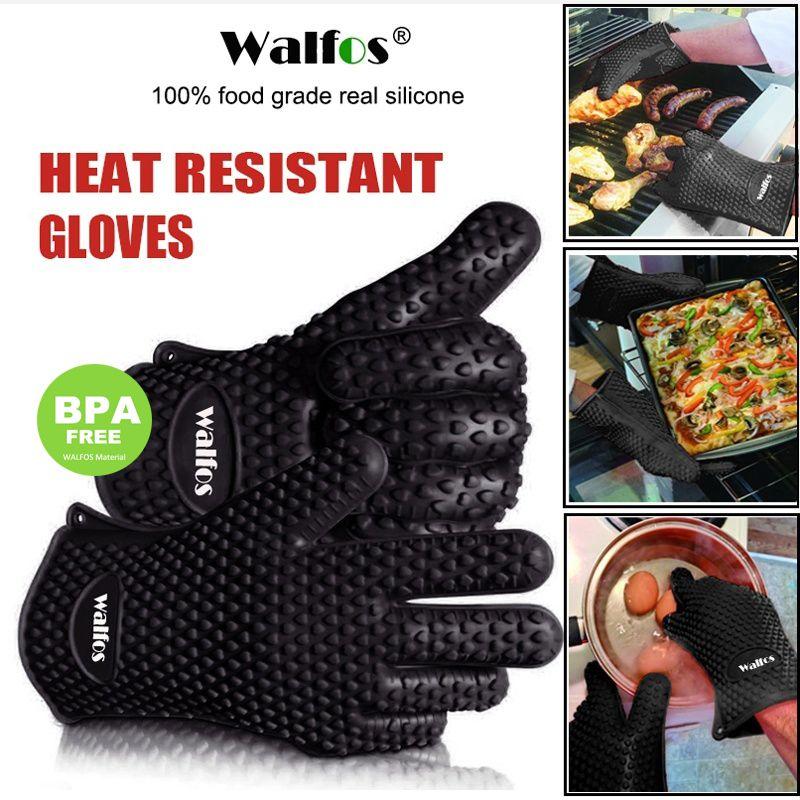 Gant de cuisson pour barbecue en caoutchouc de Silicone résistant à la chaleur de qualité alimentaire WALFOS pour gant de four de cuisson-mitaines de four de cuisine-gant de cuisine