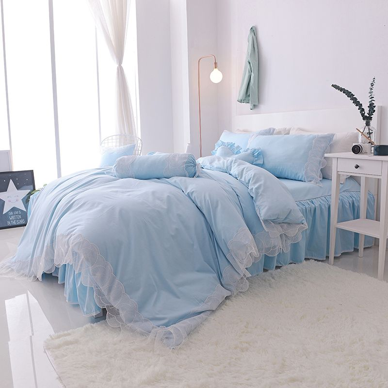 Svetanya Lace Princess Bedlinen Quilt Cover Set 4pc or 7pcs Collection Bedding Sets Korean Style Solid Color