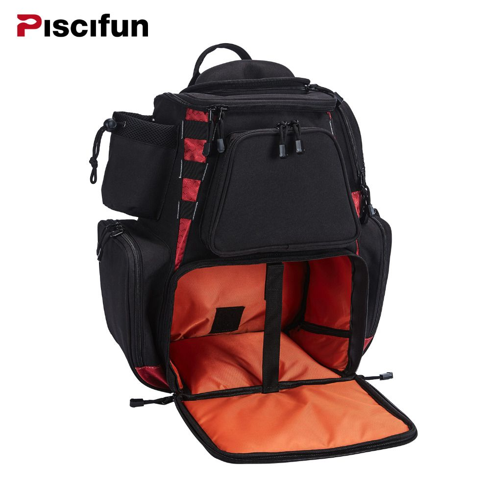 Piscifun Fishing Bag Fishing Tackle Backpack Waterproof Tackle Bag Trays Storage Bag Outdoor Hiking Camping (no tackle boxes)