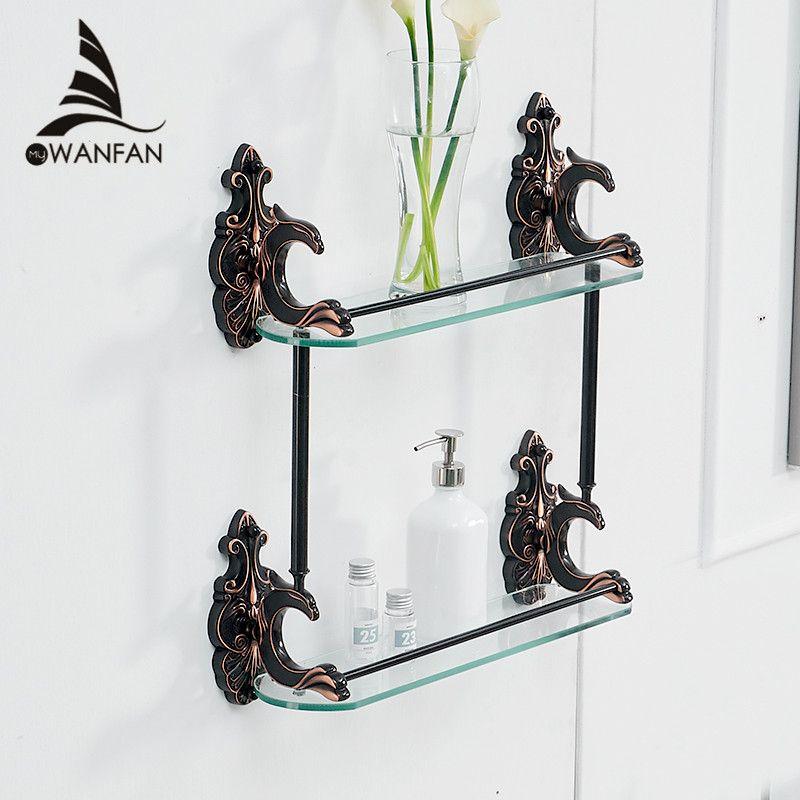 Badezimmer Regale Messing Regale für bad Gehärtetem Glas Regal Handtuchhalter Dusche Wand Regal Bad-accessoires WF-88815