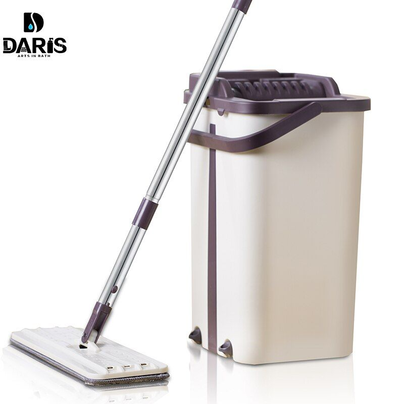 Drop Shipping Mop Bucket With Replacement Mop Cloth Magic Floor Cleaning Squeeze Flat Mops Kitchen Floor Cleaner