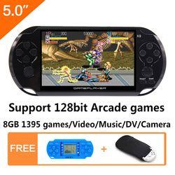 8G De Poche Jeu Console 5.0 pouce MP4 Lecteur Vidéo Console de Jeu Rétro Jeux intégré 1395 jeux pour arcade/gba/gbc/snes/fc/smd