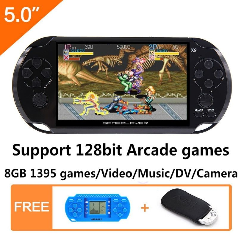 8G Handheld Game Console 5.0 inch MP4 Player Video Game Console Retro Games built-in 1395 games for arcade/gba/gbc/snes/fc/smd