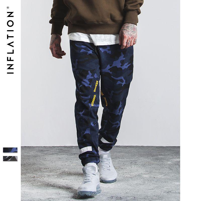 INFLATION 2017 Neuheiten Camouflage Hose Mode Neue Herren Hosen Gespleißt Bambus Baumwolle Camo Jogger Casual Hosen Männer 334W17