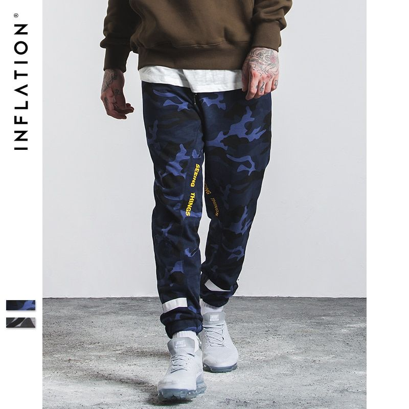 INFLATION 2017 New Arrivals Camouflage Pants Fashion New Mens Pants Spliced Bamboo Cotton Camo Jogger Casual Pants Men 334W17