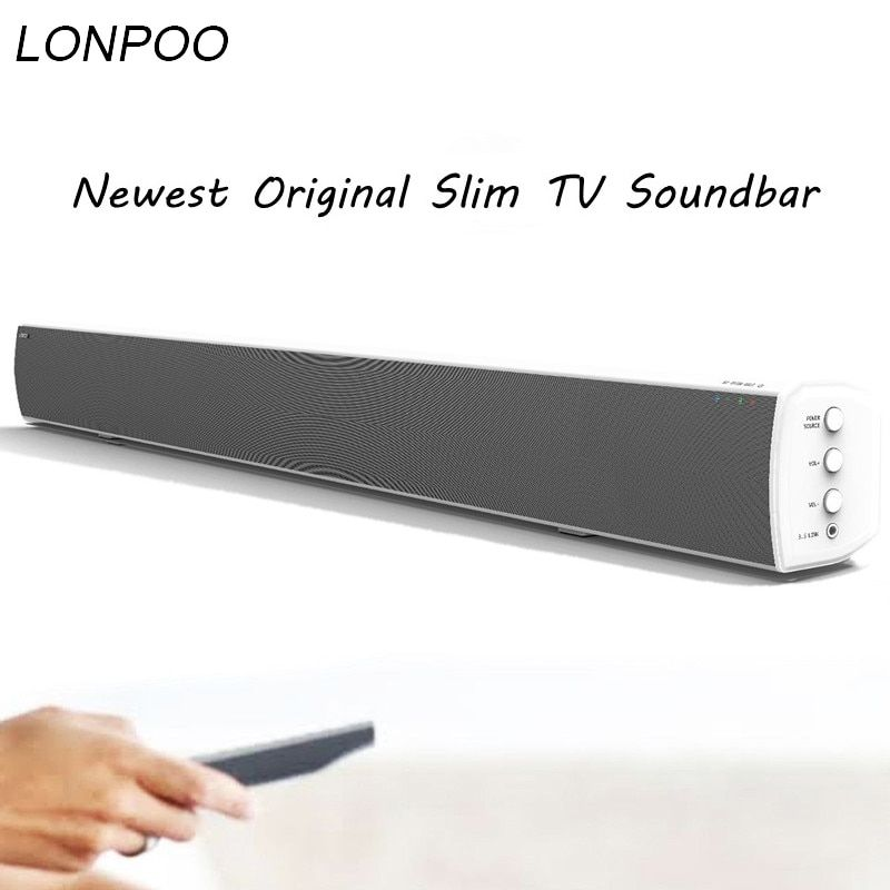 LONPOO Powerful Bluetooth TV SoundBar 40W Wireless Slim Stereo Speaker in-built Subwoofer for LED TV phoneHome theater System
