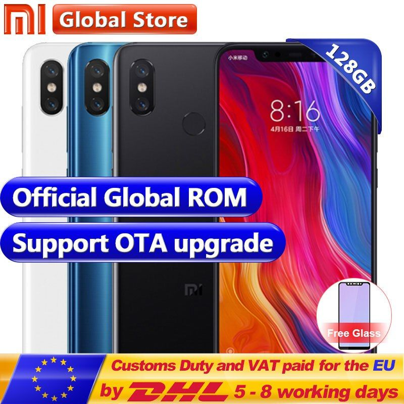 New Original Xiaomi MI 8 6GB RAM 128GB ROM Snapdragon S845 Octa Core Mobile Phone 3400mAh Dual 12.0MP+20.0MP 6.2