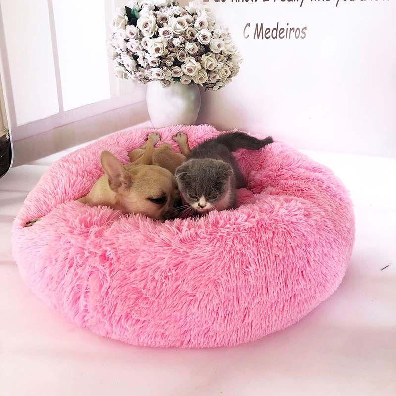 Lit de chien rond lavable pour animaux de compagnie lit de chat chien canapé de chaise longue respirant pour petits chiens moyens Super doux tampons en peluche produits pour chiens