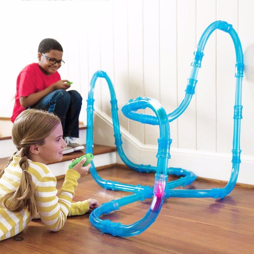 RC Car Toy Kids Pipes Racing Trucks Remote Control Speed Pipes Racing Track Car Toys Flash Light DIY Building Tube Set Car Toys
