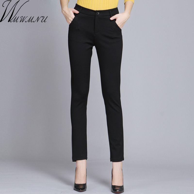 Wmwmnu Women Trousers Work Wear casual Spring Black pencil Pants Plus Size 4XL Female Slim Pants Elastic <font><b>Pantalones</b></font> Mujer