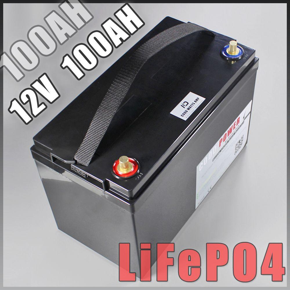 12 V 100AH lifepo4 batterie Mit bms 10A Ladegerät camping backup power inverter RV boot inverter licht Solar