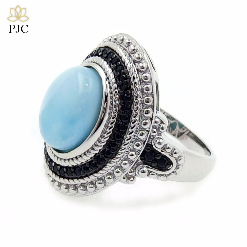 PJC gem natural anillo de plata de ley 925 10*11.61 8mm oval estilo Larimar 0.47 ct espinela negro caliente de la moda