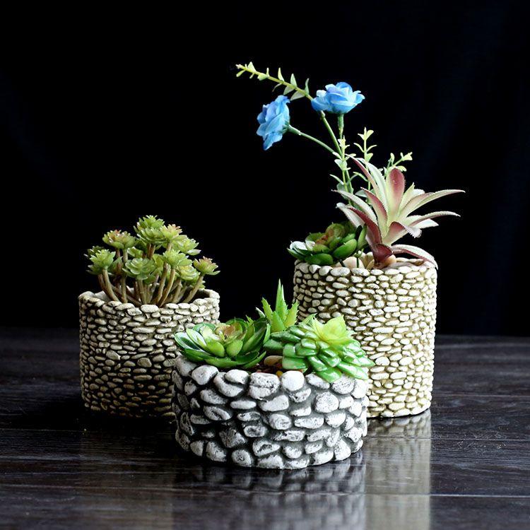 SILICONE MOLLD ciment pierre multi-viande pots de fleurs de bureau pots 3D VASE moule béton moules ciment planteur maison artisanat décorer