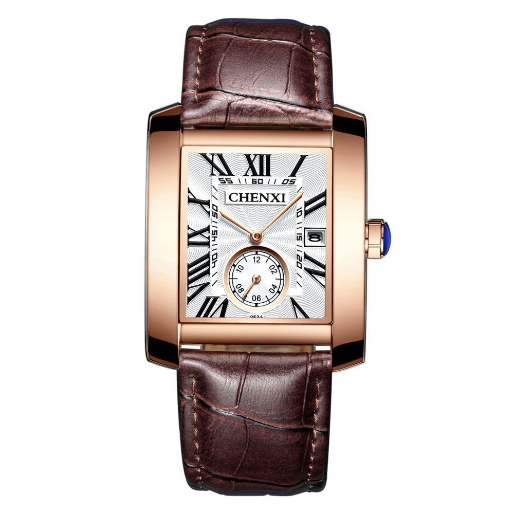 Marque de luxe CHENXI carré hommes montres conception Unique en or Rose calendrier chronomètre en cuir véritable Quartz montre d'affaires pour homme