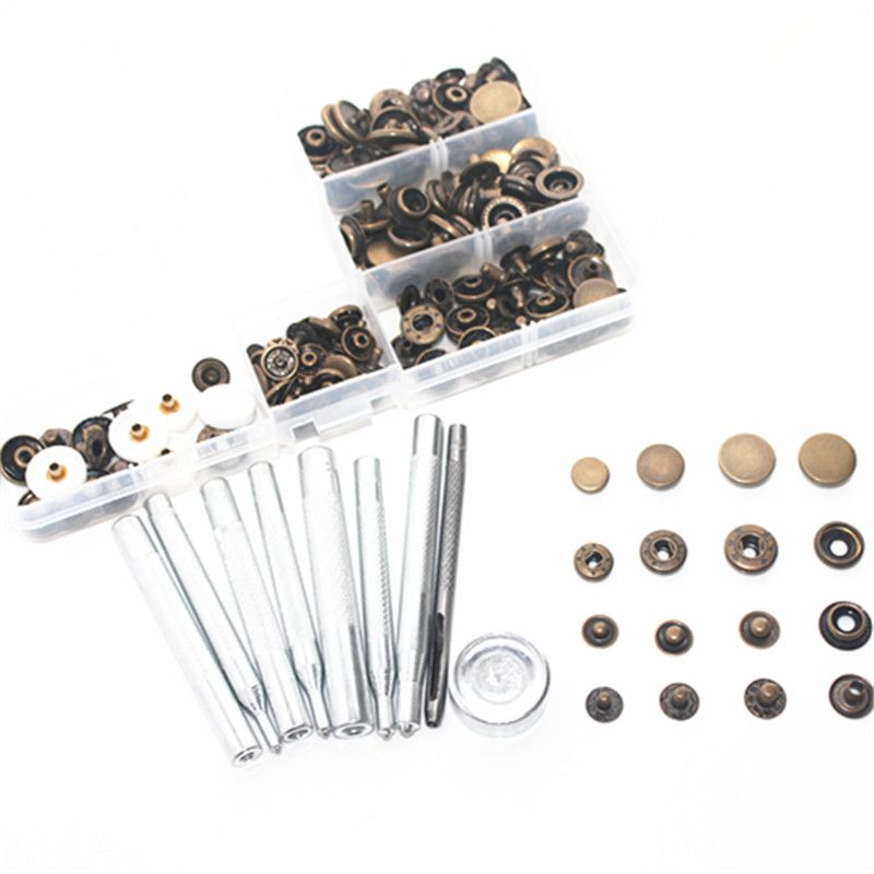 45 sets 10mm 12mm 15mm metal Snap Fastener Press Stud Buttons Poppers Leather Craft Fixings Tools 9-piece tool set Kit +box