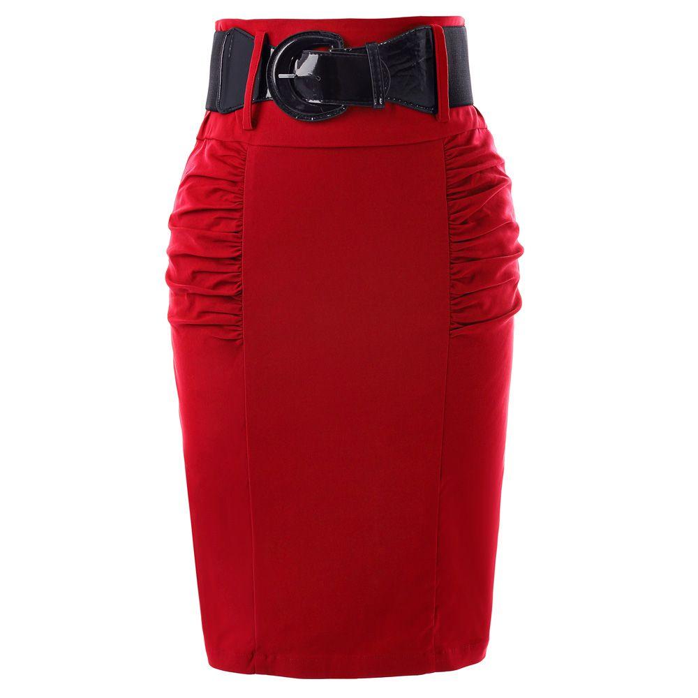 Jupes crayon femmes solide noir gris rouge bleu avec ceinture Slim taille haute Saia moulante décontracté bureau travail OL Midi jupe Faldas