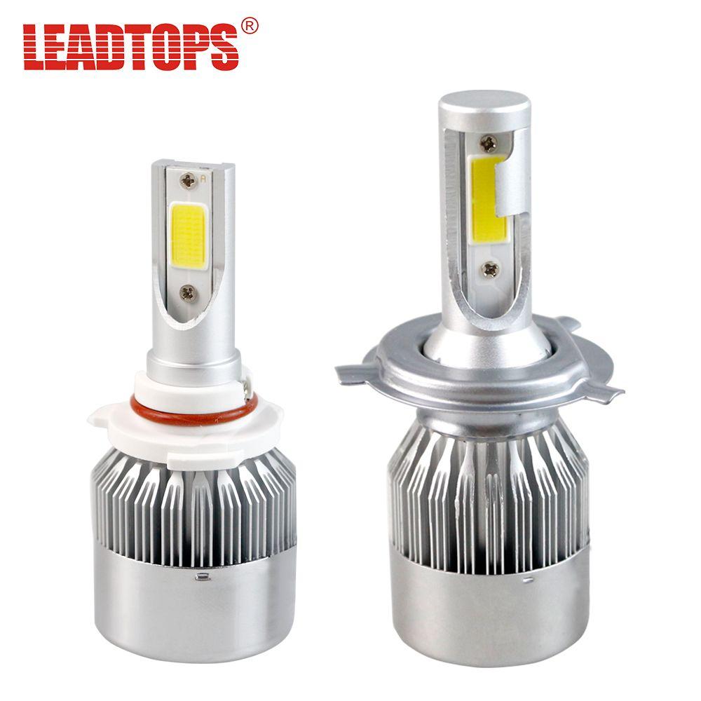Leadtops H4 H7 H11 H1 H13 H3 9004 9005 9006 9007 9012 удара светодиодные фары автомобиля лампы Hi-Lo луч 60 Вт 8000LM 6000 К авто фары 12 В F
