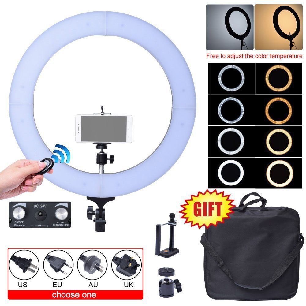 Fotoconic 80W 48cm 2700K~5500K 448 LED Dimmable Ring Light Kit with Bluetooth Remote Shutter for Photography Video Photo Selfie