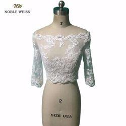 Mulia Weiss Manik-manik Bolero Wedding Baru Off Bahu 3/4 Lengan Renda Pengantin Pernikahan Jaket Wanita Pernikahan Jaket