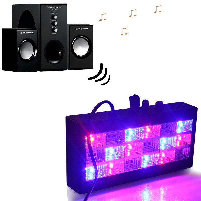 18 leds contrôle du son led coloré/blanc scène lumière Disco stroboscope lumière Flash lumière Club scène effet d'éclairage prise ue/US
