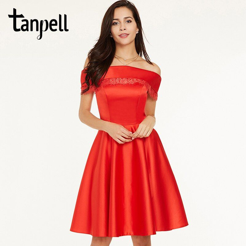 Tanpell short homecoming dress red off the shoulder knee length a line gown cheap women prom cocktail formal homecoming dresses
