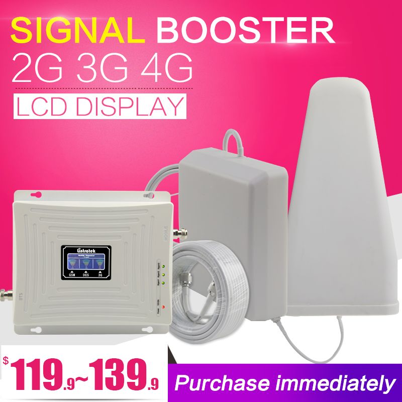 Lintratek GSM DCS WCDMA 900+1800+2100 Tri Band Mobile Signal Booster 2G 3G 4G LTE Cellular Repeater GSM 3G 4G Cell Phone Booster