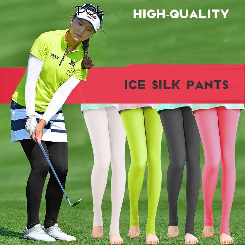 Legging élastique translucide bas femmes protection solaire culotte-tuyau Golf pantalon extérieur résistant aux UV léger mince lisse longues chaussettes de jambe