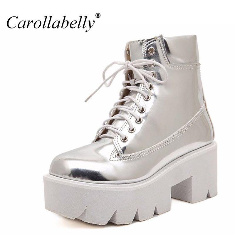 2018 Lace Up High Heels Women Punk Style Ankle Boots,Thick Bottom Platform Shoes,European Motorcycle Leather Boots 7colors