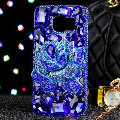 Luxury Girl Lady Woman Diamond Flowers BLUELOVER Phone Cover Case For Samsung Galaxy Note 8 A5 A7 A8 A9 C7 C9 J3 J5 J7 2016 2017